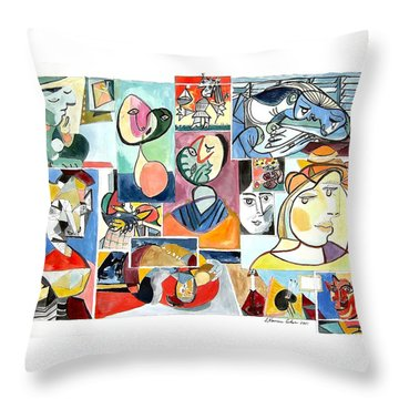 Deconstructing Picasso - Women Sad And Betrayed Throw Pillow by Esther Newman-Cohen