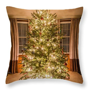 Throw Pillow featuring the photograph Decorated Christmas Tree by Alex Grichenko