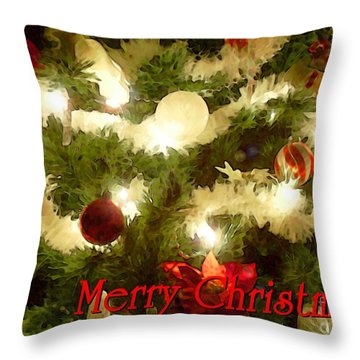 Decorated Tree Christmas Card Throw Pillow by E B Schmidt