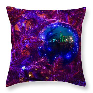 Decoration Ball On A Christmas Tree Illuminated With Red Light - Featured 3 Throw Pillow by Alexander Senin