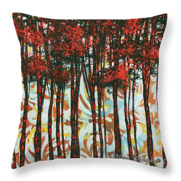Decorative Abstract Floral Bird Landscape Painting Forest Of Dreams II By Megan Duncanson Throw Pillow by Megan Duncanson