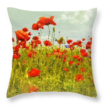 Decorative-art Field Of Red Poppies Throw Pillow by Melanie Viola