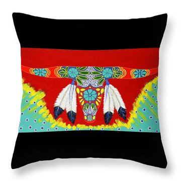 Throw Pillow featuring the painting Longhorn by Debbie Chamberlin