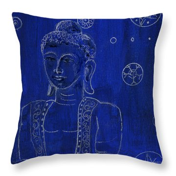 Deep Blue Buddha Throw Pillow