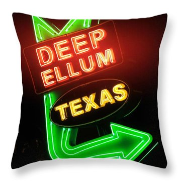 Deep Ellum Red Glow Throw Pillow