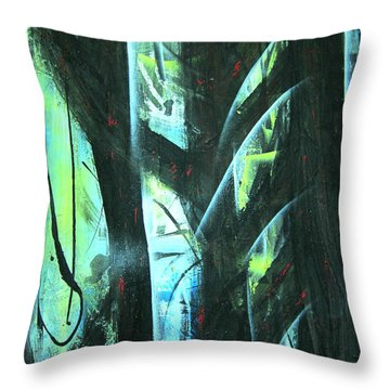 Throw Pillow featuring the painting Deep Forest by Yul Olaivar