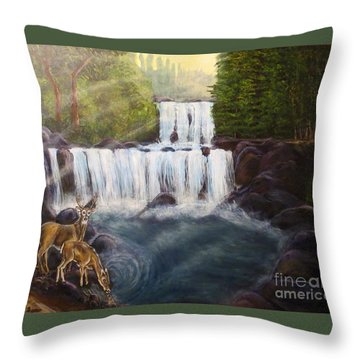 A Tall Drink Of Water For A Pair Of White Tailed Deer In The Great Smoky Mountains Throw Pillow