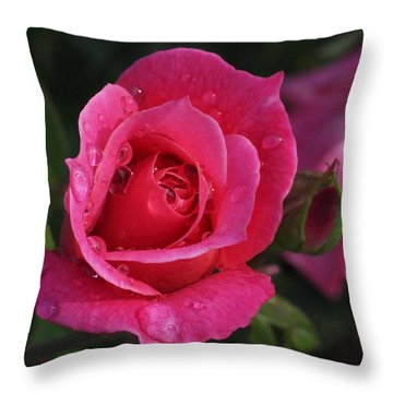 Deep Pink Beauty Throw Pillow by Rona Black