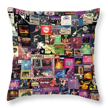 Deep Purple Collage Throw Pillow by Taylan Apukovska