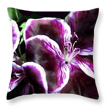 Deep Purple Vibrant Flower Macro Throw Pillow by Danielle  Parent