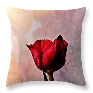 Deep Red Tulip On Pale Tulip Background Throw Pillow