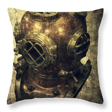 Deep Sea Diving Helmet Throw Pillow