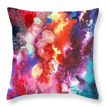 Deep Water Coral Throw Pillow by Sally Trace