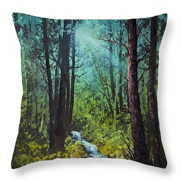 Deep Woods Stream Throw Pillow by C Steele