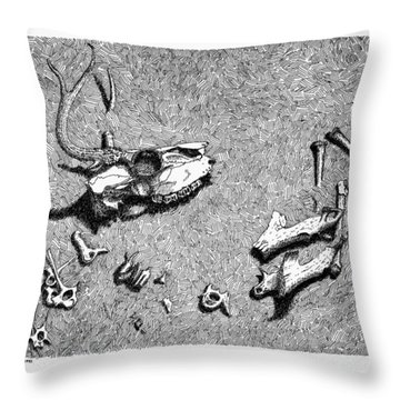 Deer Bones Throw Pillow by Daniel Reed