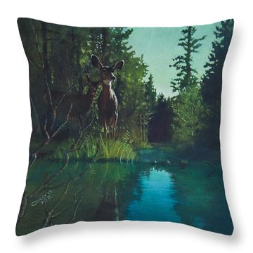 Deer Crossing Throw Pillow by Rob Corsetti