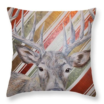 Throw Pillow featuring the painting Deer Deco by PainterArtist FINs husband