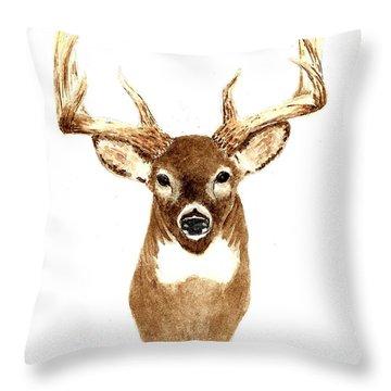 Deer - Front View Throw Pillow