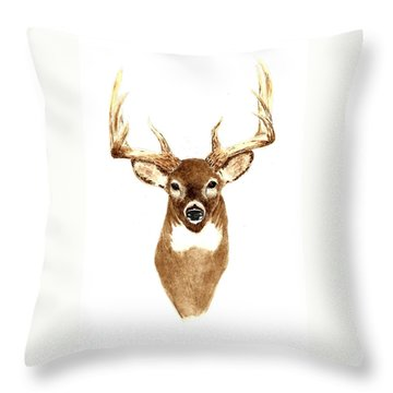 Deer - Front View Throw Pillow by Michael Vigliotti