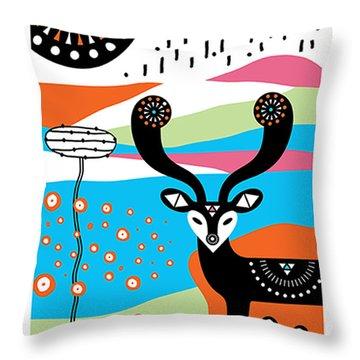 Deer Garden Throw Pillow