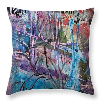 Deer In Magical Forest Throw Pillow