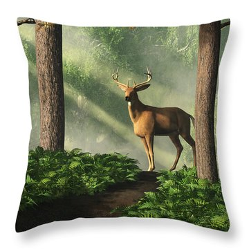 Deer On A Forest Path Throw Pillow