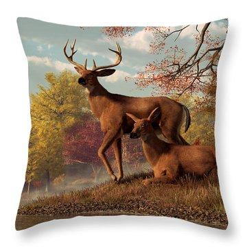 Deer On An Autumn Lakeshore  Throw Pillow by Daniel Eskridge