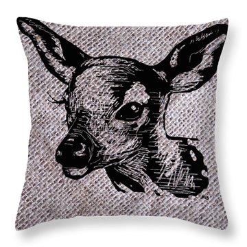 Deer On Burlap Throw Pillow