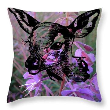 Deer On Flower Throw Pillow