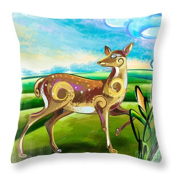 Deer Over Hill Throw Pillow