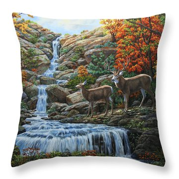 Deer Painting - Tranquil Deer Cove Throw Pillow