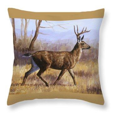 Deer Painting - Trotting Buck Throw Pillow