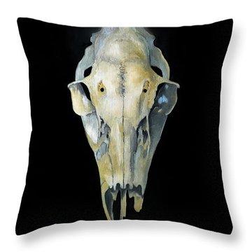 Deer Skull With Aura Throw Pillow