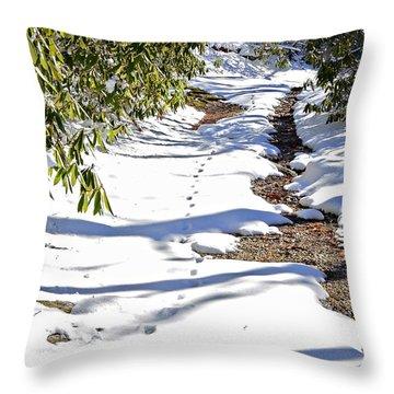 Deer Trail Throw Pillow by Susan Leggett