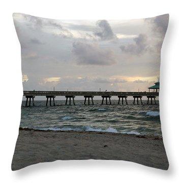 Throw Pillow featuring the photograph Deerfield Beach International Fishing Pier Sunrise by Rafael Salazar
