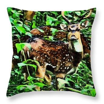Deer's Green Day Throw Pillow