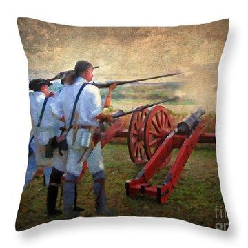 Defending Bemis Heights 1777 Throw Pillow by Lianne Schneider