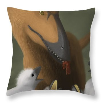 Deinonychus Dinosaur Feeding Its Young Throw Pillow by Michele Dessi