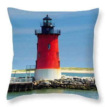 Delaware Breakwater Lighthouse Throw Pillow by Nick Zelinsky