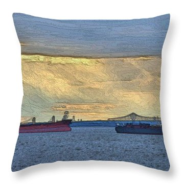 Throw Pillow featuring the photograph Delaware River Maritime 4 by Steven Richman