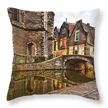 Delft Behind The Church Throw Pillow by Frans Blok