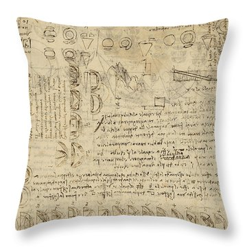 Delian Problem Or Doubling Cube Equivalence Among Various Parts Of Circle From Atlantic Codex  Throw Pillow by Leonardo Da Vinci