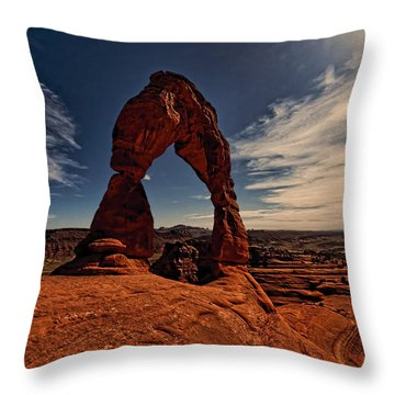 Delicate Arch Afternoon Glow Throw Pillow