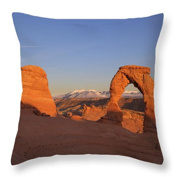 Delicate Arch At Sunset-2 Throw Pillow by Alan Vance Ley