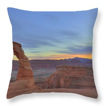 Throw Pillow featuring the photograph Delicate Arch At Sunset by Alan Vance Ley