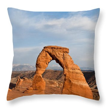 Throw Pillow featuring the photograph Delicate Arch At Sunset by Jeff Goulden
