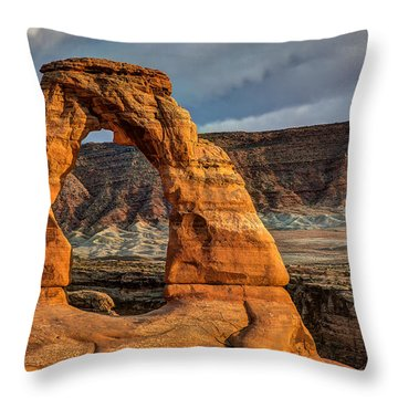 Delicate Arch Throw Pillow by Jeff Burton