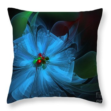 Delicate Blue Flower-fractal Art Throw Pillow