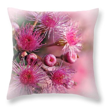 Delicate Buds And Blossoms Throw Pillow by Kaye Menner