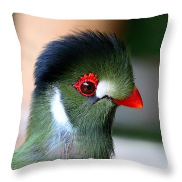 Delicate Green Turaco Bird With Red Beak White Patches And Black Crown Throw Pillow